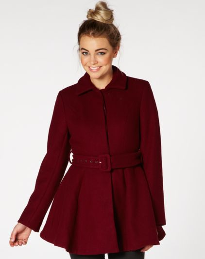 Bordeaux flared coat from @Glassons at @Westfield New Zealand #colourfulcoat #winter