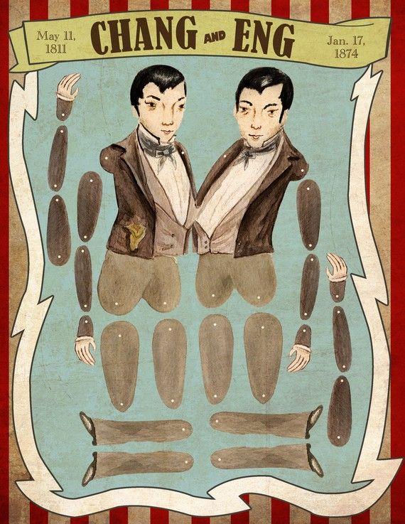 Chang and Eng: Circus Sideshow, Eng Paper, Circus Historical, Paper Dolls Via, Circus Paper Dolls, Art Prints, Historical Paper, Dolls Via Summer, Eng Circus