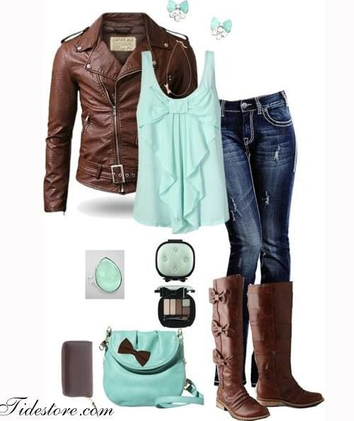 the mix between hard (leather) and soft/girly (turquoise bow top) is beautiful
