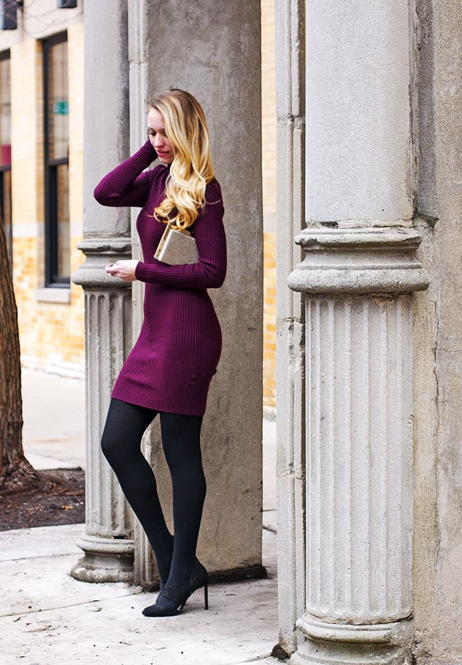 purple bodycon sweater dress, tights, pumps, gold clutch, winter outfit