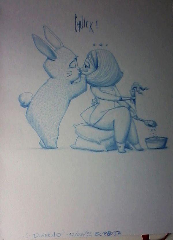 """Ellos, invierno y jardinería... """"Chuik!"""" (sonando Radical Face Welcome Home). Sketchbook+lápiz azul."""