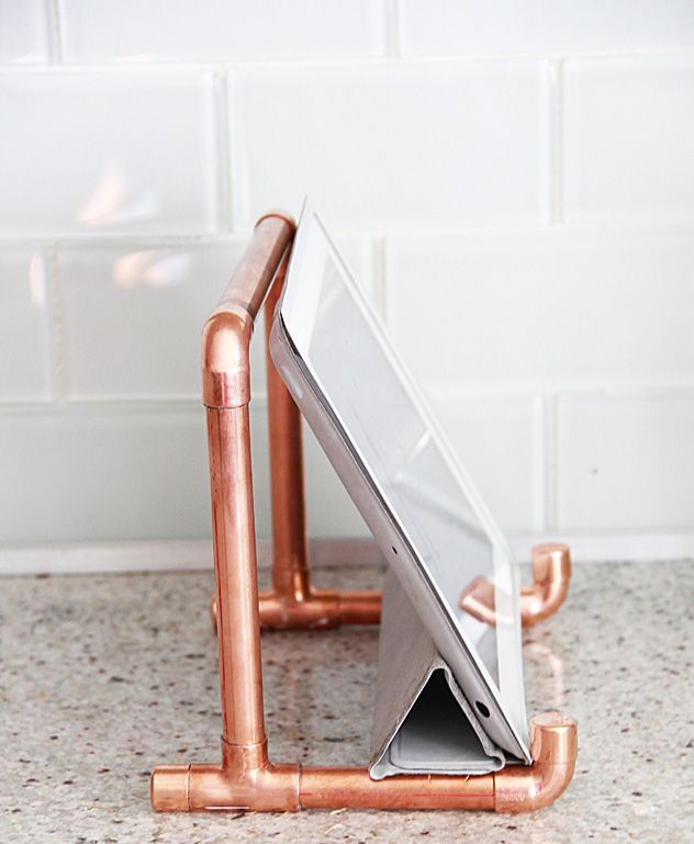 Copper pipe iPad holder. Great hack for reading recipes in the kitchen.
