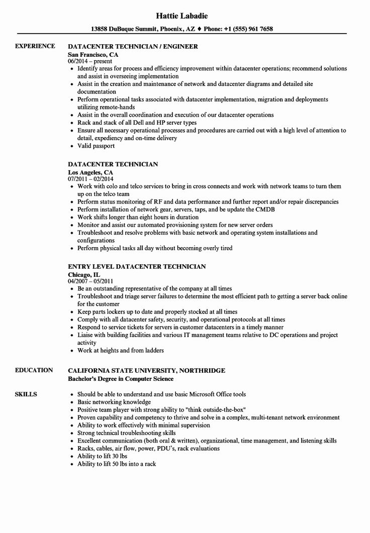 Computer Technician Job Description Resume Fresh