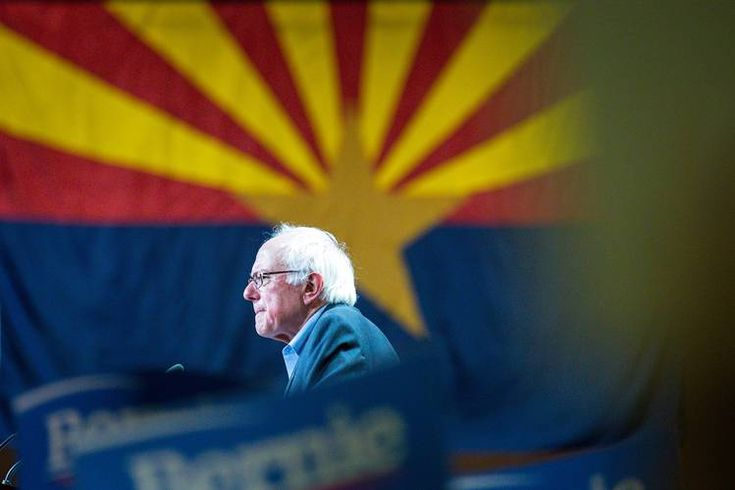 Democratic presidential candidate Bernie Sanders addresses a crowd at the Phoenix Convention Center on Saturday.