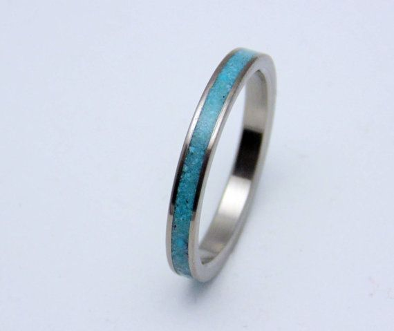Titanium and Turquoise wedding band Womens by PeacefieldTitanium