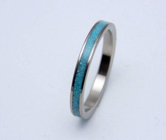 Titanium and Turquoise wedding band,   Womens dainty titanium ring