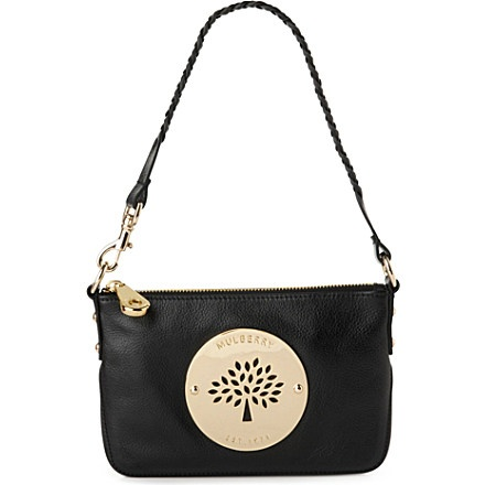 MULBERRY Daria natural leather wristlet clutch (Black