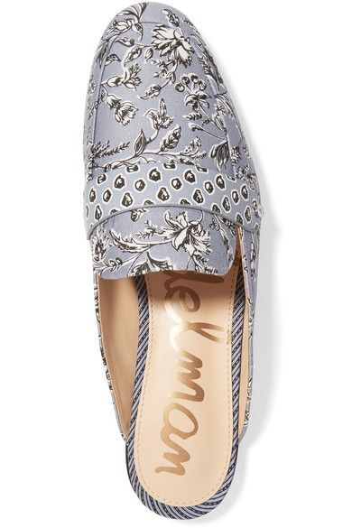 Sam Edelman - Perri Printed Leather-trimmed Canvas Slippers - Light blue