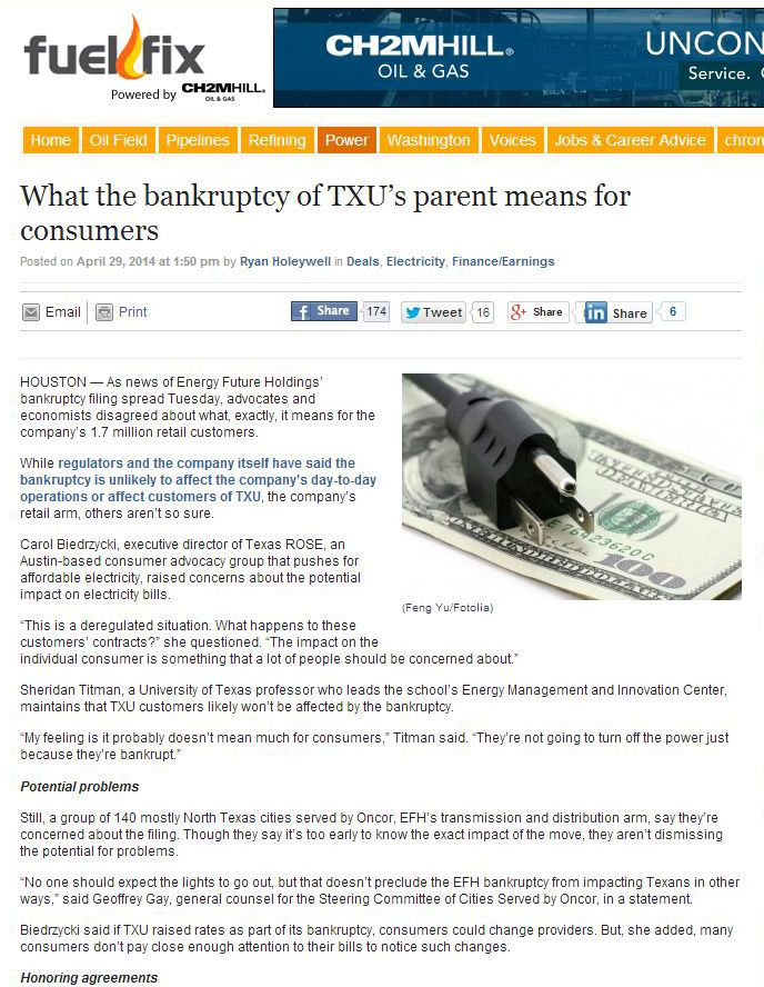 "What the bankruptcy of TXU's parent means for consumers - FuelFix.com headline from 4/2014  From the article: ""While regulators and the company itself have said the bankruptcy is unlikely to affect the company's day-to-day operations or affect customers of TXU, the company's retail arm, others aren't so sure.""  Dallas Landscape Lighting installs back up generators for homeowners in the Dallas, TX area. Back up power gives customers peace of mind in situations like the TXU bankruptcy."