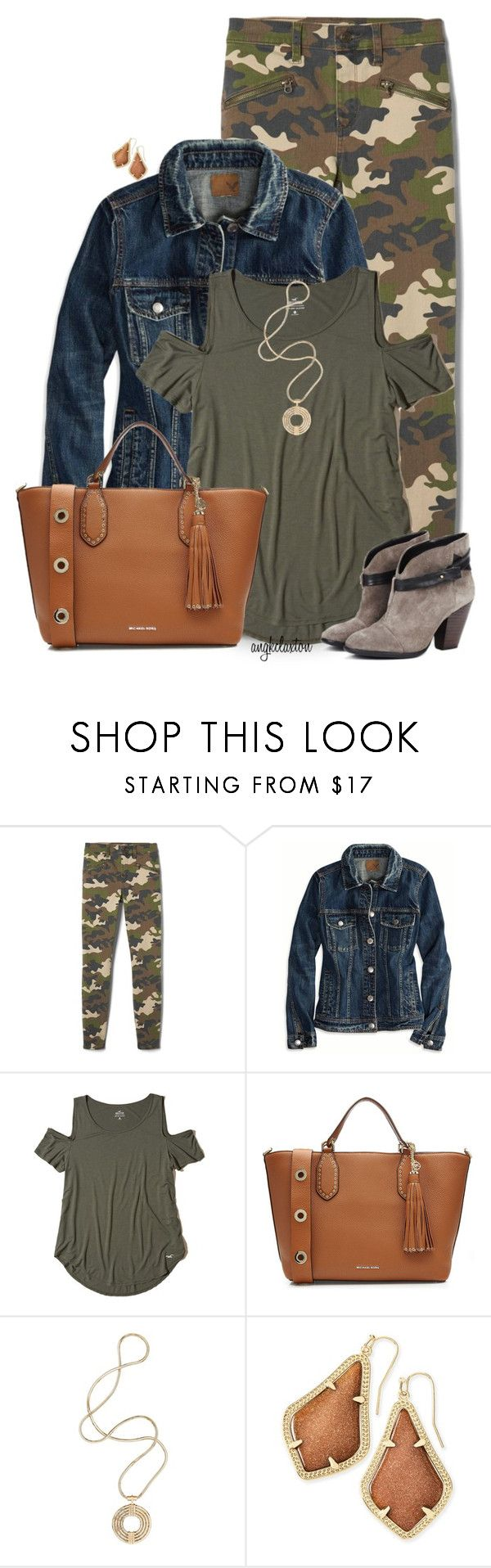 """Camo Jeans"" by angkclaxton ❤ liked on Polyvore featuring American Eagle Outfitters, Hollister Co., MICHAEL Michael Kors, Sole Society, Lara Bohinc and Kendra Scott"
