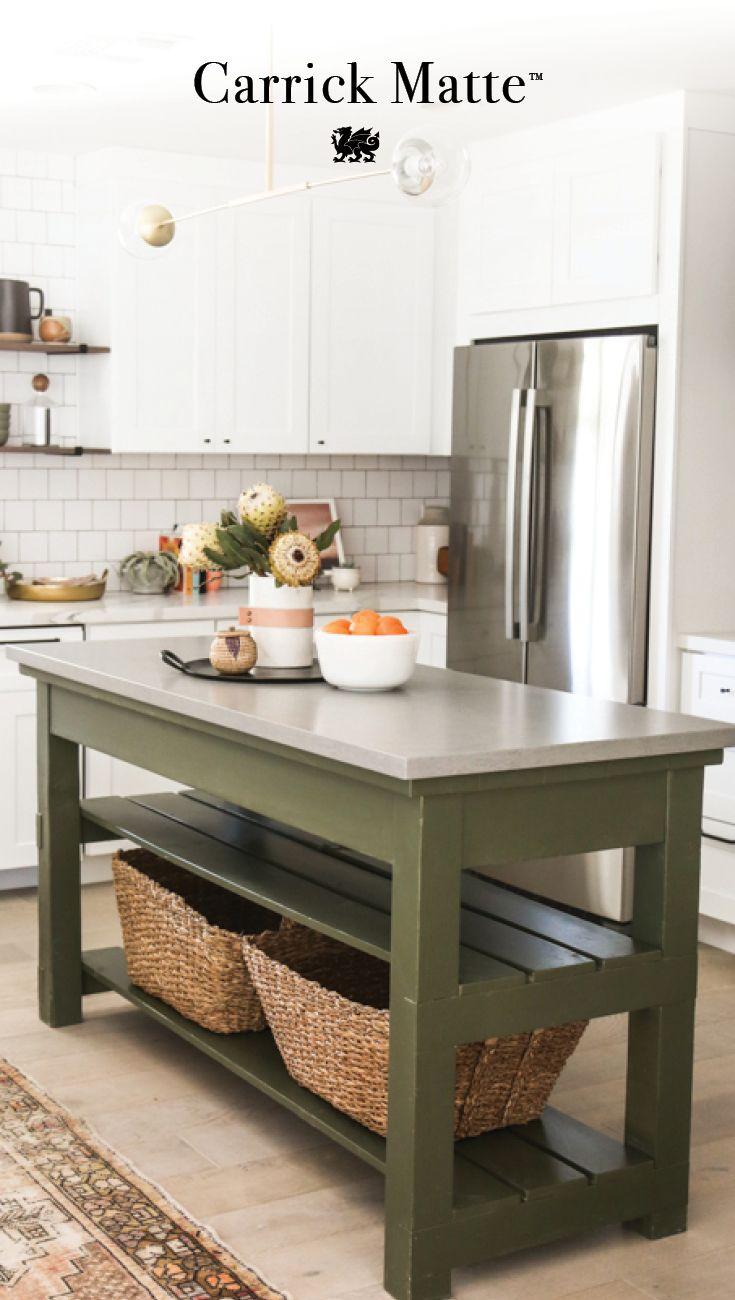 Home Green Kitchen Island Kitchen Renovation Kitchen Remodel