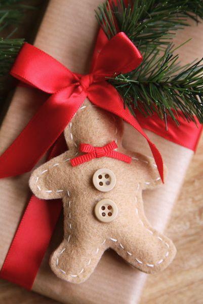 Felt Gingerbread Man Ornaments & Gift Tags | A Homemade Living