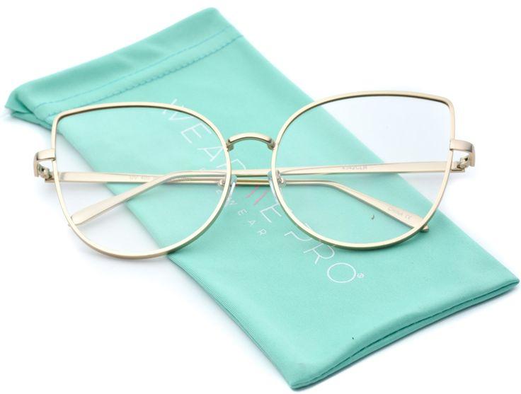 WearMe Pro - Clear Thin Frame Oversized Delicate Non- Prescription Glasses