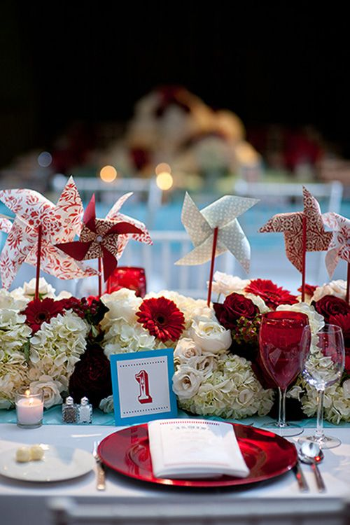 Beautiful Blooms - Pinwheel Centerpiece at Carnival-themed Mitzvah