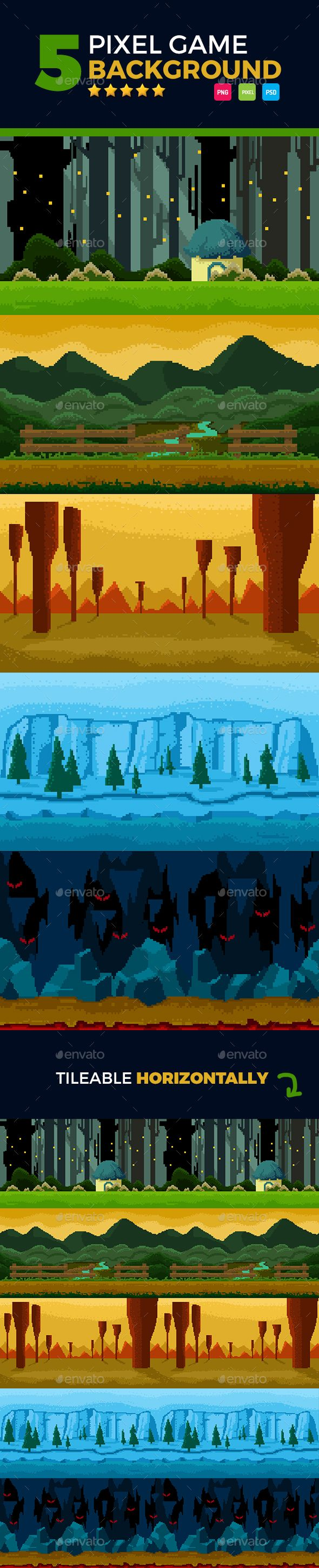 5 Set Pixel Game Background