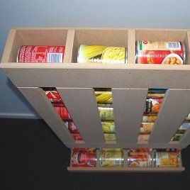 When food come in cans, a can dispenser makes it possible to rotate your cans of food, always using the oldest first. Learn how to make them. There are three designs.