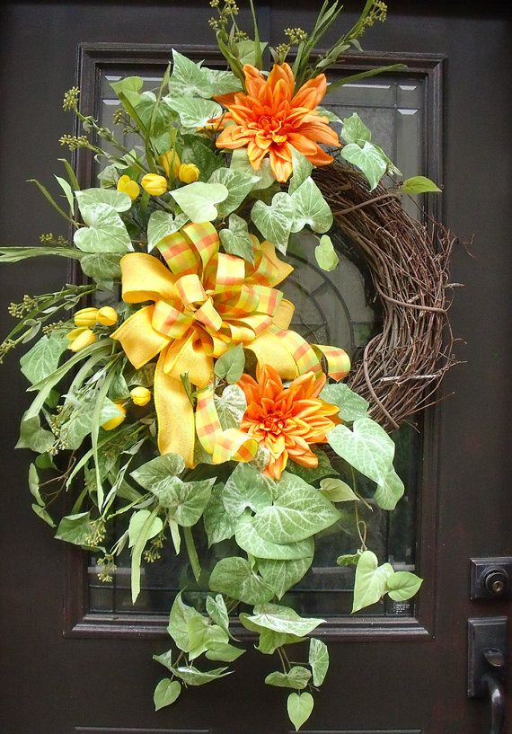 166 best spring and summer wreaths images on pinterest Spring flower arrangements for front door