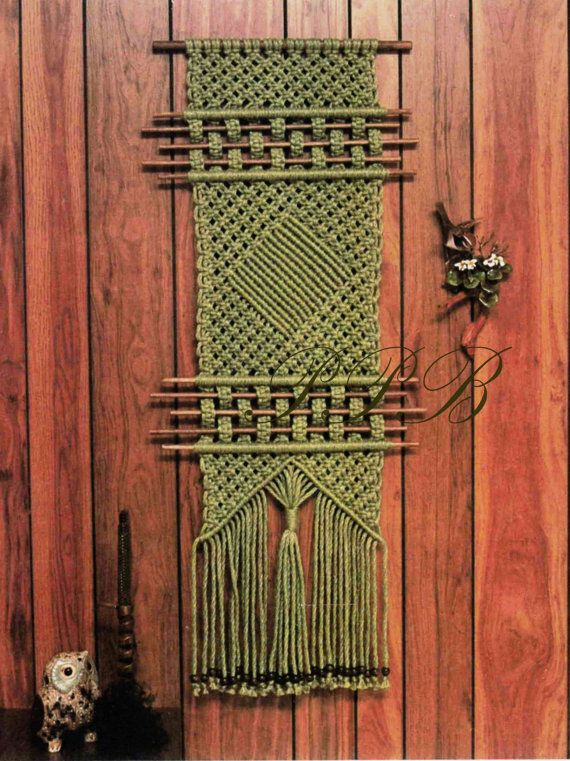 Macrame Wall Hanging ... Diamond Rod Wall by PastPatternsBoutique