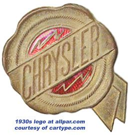 "The original Chrysler logo, which vanished after 1954 from all but 1955-1956 Windsors, C300s, and 300Bs with manual transmissions*, and reappeared in 1994, is a rendition of a wax seal with ribbon affixed at the lower right. Its creator, Oliver Clark, said it was set up as a seal to represent quality (symbolizing state fair awards) and ""to emphasize the integrity of the car's makers."""