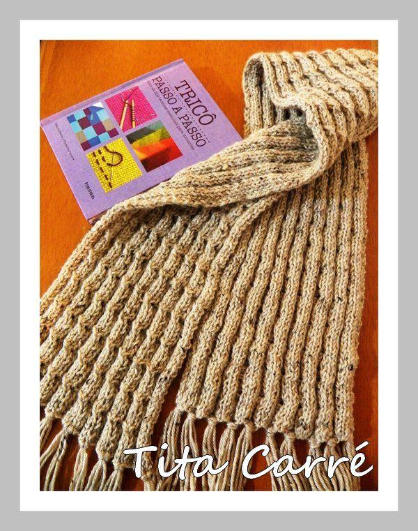Cachecol Plissado em lã com um livro tricot passo-a-passo