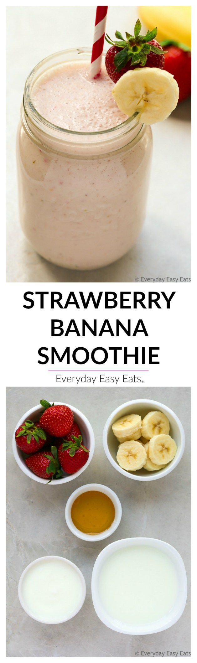 5 ingredients and 5 minutes are all you need to make this nutritious Strawberry Banana Smoothie recipe. The perfect grab-and-go breakfast or snack.