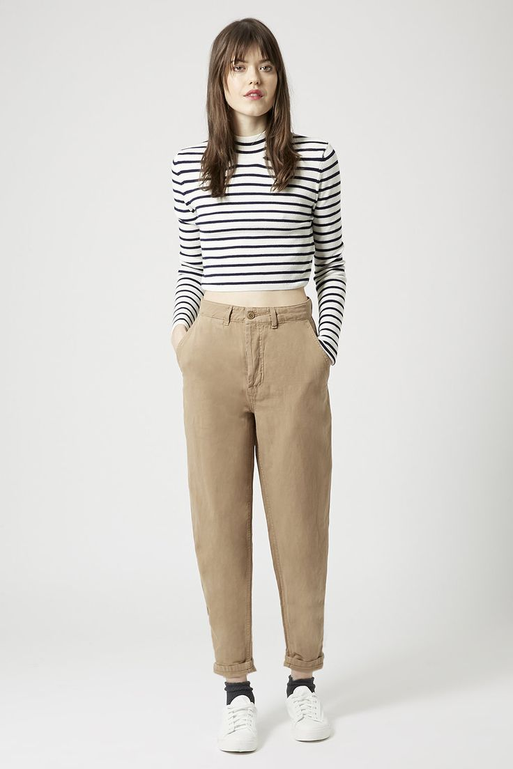 Washed Cotton High-Waisted Peg Trousers