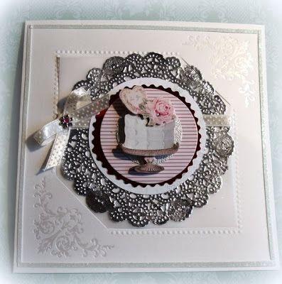 Kort med kake og sølvfarger kakeserviett, - Card with cake _Moski