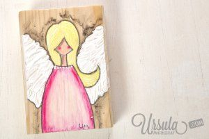 """Wooden angel """"Annie"""" - gift someone a guardian angel for Christmas. And it's unique and handmade. If you want to a special message can be added. 24.00€ #angel #christmas #gift #guardianangel #handmade #art #mixedmediaart"""