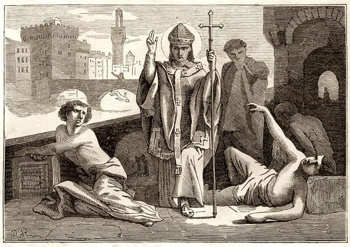 """San Antonio (Mayo 5). Llamado """"Antonino"""" por su pequeña estatura, por su amabilidad y bondad. A los 15 años de edad fue admitido en la comunidad de los Padres Dominicos. Fue nombrado por al Papa Eugenio IV como Arzobispo de Florencia. Combatió fuertemente los juegos de azar, la usura, magia, superstición y brujería. Declarado Santo por al Papa Adriano VI en 1523."""