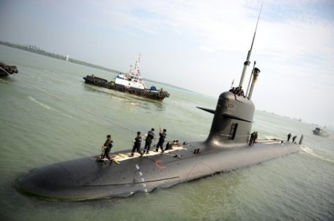 A Malaysian (French DCNS designed) Scorpene class submarine at Port Klang near Kuala Lumpur, September 3, 2009