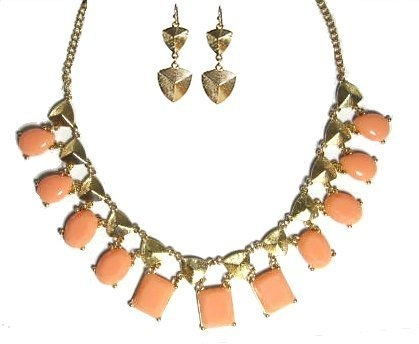 Seville Goldtone Necklace with Bonus Earrings (Coral) Maggie T New York