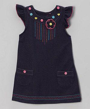 Look what I found on #zulily! Denim Angel-Sleeve Flower Jumper - Toddler & Girls by Samara #zulilyfinds