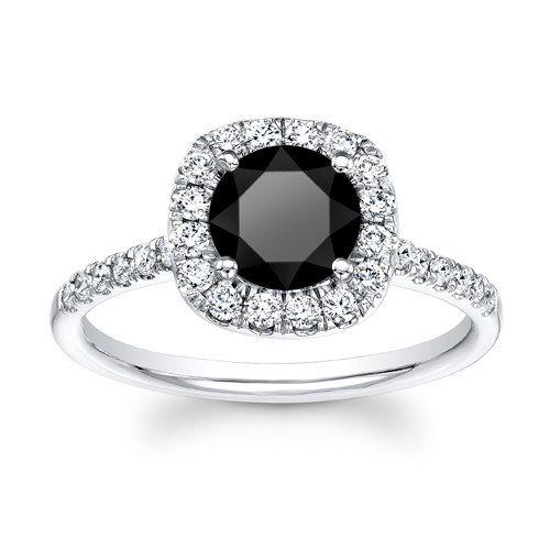 Ladies 14kt white gold cushion top 1ct Round Brilliant Black diamond engagement ring 0.40 ctw G-VS2 quality diamonds