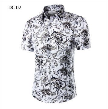 2017 Fashion Mens Short Sleeve Hawaiian Shirt Summer Casual Floral Shirts For Men Asian Size M-4XL 10 Color