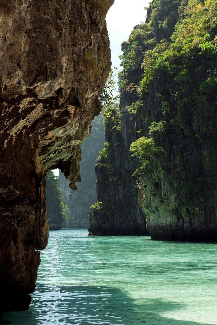 Limestone karst islets in Loh Samah Bay.