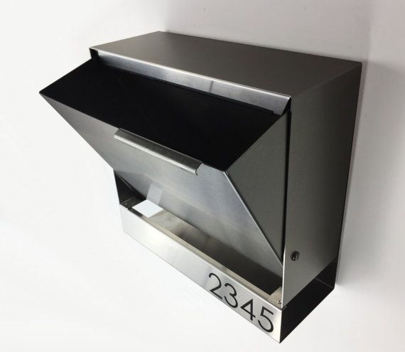 This beautiful and modern mailbox will definitely add a touch of elegance to your house. Made from 16 GA Stainless steel grade 304 with a fine polish #4.  It can easily fit multiple numbers or letters. Standard numbers are laser engraved.  Easy to install with wall mounting holes.  Size: 14 x 11 (14 WITH NUMBERS) x 5 1/4  The locking option let mailbox open only 3/4 when locked. *****Each mailboxes are carefully handmade and made to order, by me, so count 13-15 business days before ...