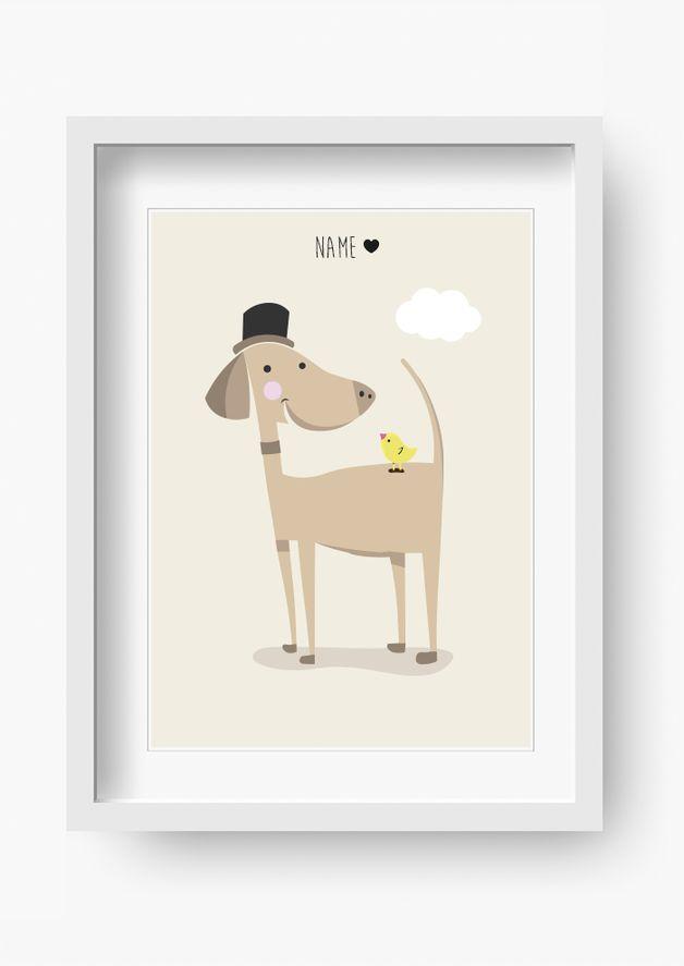 Bilder Kinderzimmer Poster Kinderbild Herr Bello