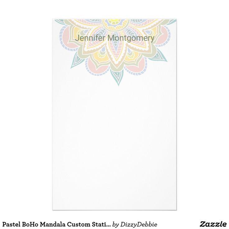 Pastel BoHo Mandala Custom Stationery