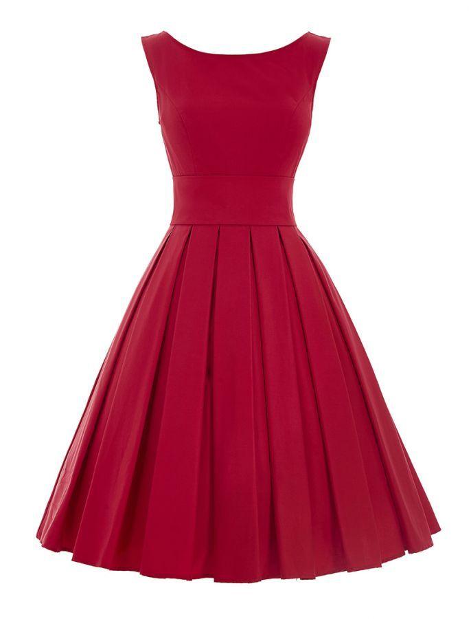1950s Vintage Style Elegant Pleated Dress - Red