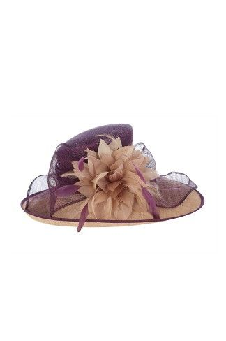 Hat from Jacques Vert to match the dress.  Costs £119.00 - oyster brim and a shaped wine crown with feather flower detail.  Perfect for Mother of the Bride.