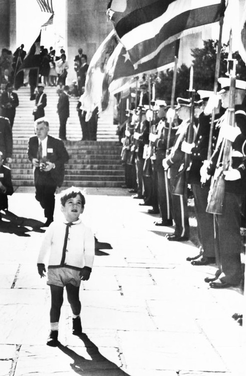1963: JFK Jr. leaving Arlington Cemetery after he watched his father, President Kennedy, place a wreath on the Tomb of the Unknowns during Veterans day ceremonies.