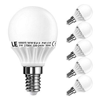 LE 5er E14 LED Lampen, ersetzt 25W Glühbirnen, P45 3W 270lm Warmweiß 2700K, 155° Abstrahlwinkel LED Birnen, LED Leuchtmittel