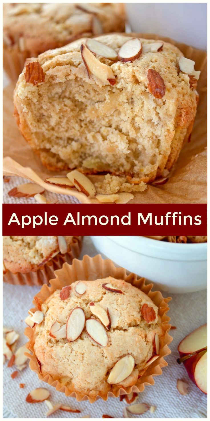 Apple Almond Muffins .this moist, delicious muffin has a bright, light, lemon, apple and cinnamon flavor you'll taste in your first bite.
