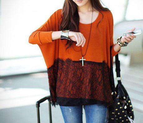Loose Round Neck Long Batwing Sleeve Orange Cashmere Long T-shirt