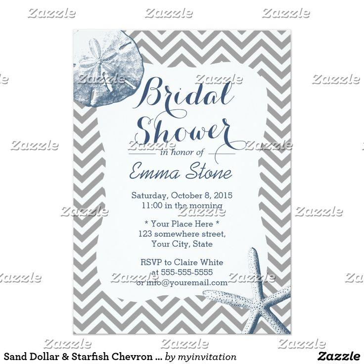 Sand Dollar & Starfish Chevron Bridal Shower Card Sand Dollar & Starfish Chevron Stripes Bridal Shower Invitations. Fun wedding invites. Customize invitations for your weddings. #invitations #invites #weddings  #bridal