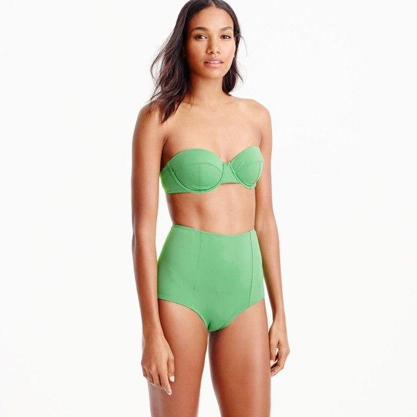 J.Crew Underwire Bikini Top (67 CAD) ❤ liked on Polyvore featuring swimwear, bikinis, bikini tops, swim suits, swim bathing suits, halter top swimsuit, swim tops and halter swimsuit