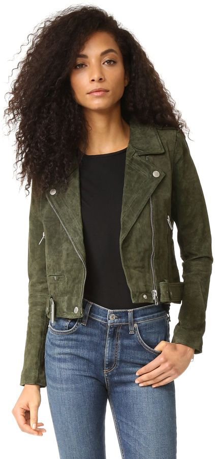 Brushed green suede jacket in perfect to transition into fall fashion. Blank Denim Genuine Suede Moto Jacket