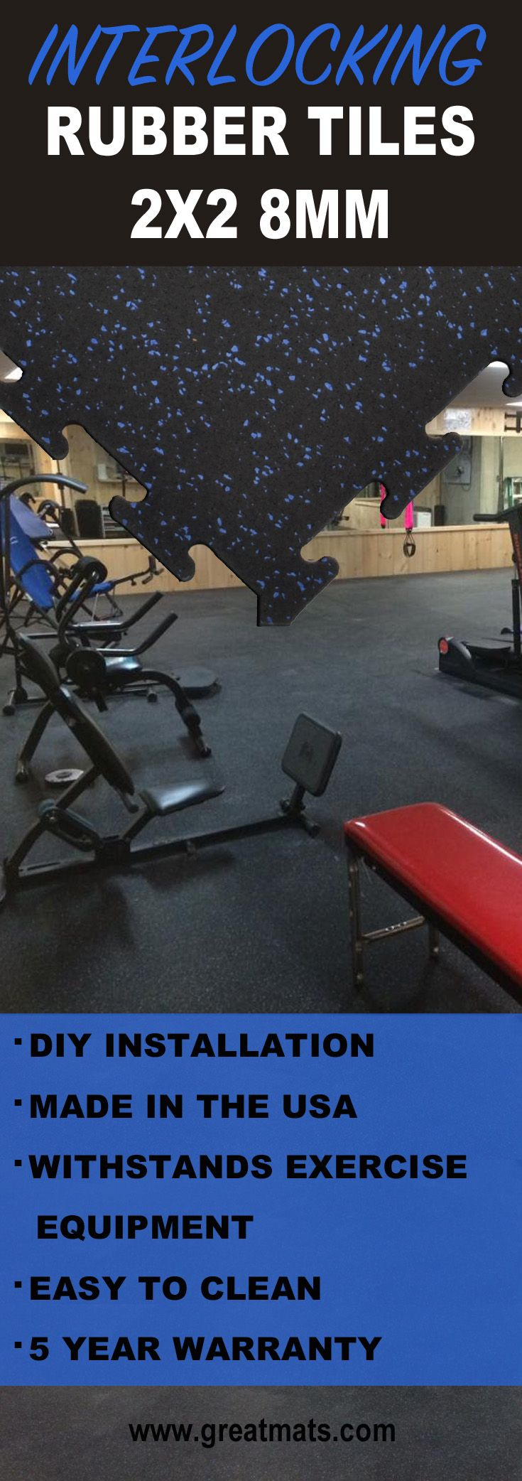 Rubber mats gym interlocking - Discover What Makes 2x2 Foot By 8mm Thick Interlocking Rubber Tiles Perfect For Home Gyms