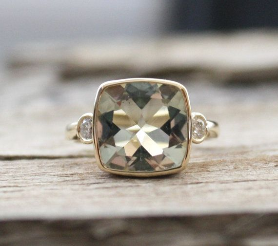3 Stone Green Amethyst Bezel And Diamond Ring In 14k