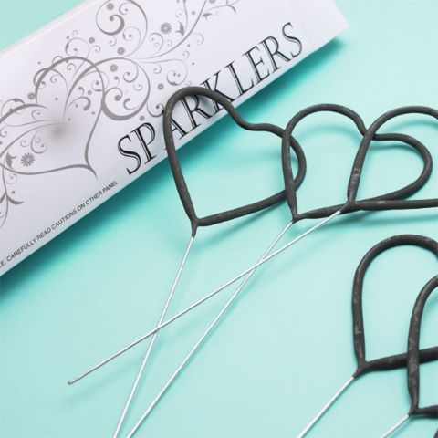 Heart Shaped Sparklers - pack of 6 - Wedding Bubbles, Confetti and Wands - Wedding Essentials - Destination Wedding Favors